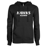 ENZA Ladies Black Fleece Full Zip Hoodie-Hawks Alumni