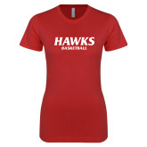 Next Level Ladies SoftStyle Junior Fitted Red Tee-Hawks Basketball