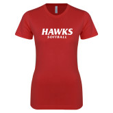 Next Level Ladies SoftStyle Junior Fitted Red Tee-Hawks Softball
