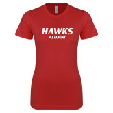 Next Level Ladies SoftStyle Junior Fitted Red Tee-Hawks Alumni