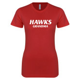 Next Level Ladies SoftStyle Junior Fitted Red Tee-Hawks Grandma