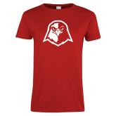 Ladies Red T Shirt-Hawk Head