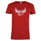 Ladies Red T Shirt-Hawk Logo