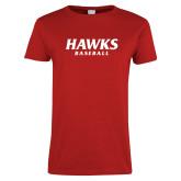 Ladies Red T Shirt-Hawks Baseball