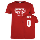 Ladies Red T Shirt-Primary Mark, Personalized Name and #