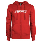 ENZA Ladies Red Fleece Full Zip Hoodie-Secondary Logo