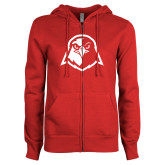 ENZA Ladies Red Fleece Full Zip Hoodie-Hawk Head