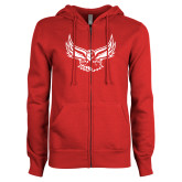 ENZA Ladies Red Fleece Full Zip Hoodie-Hawk Logo