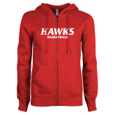 ENZA Ladies Red Fleece Full Zip Hoodie-Hawks Basketball