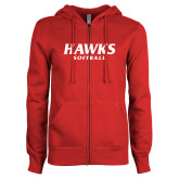 ENZA Ladies Red Fleece Full Zip Hoodie-Hawks Softball