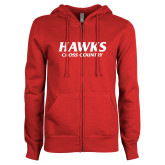 ENZA Ladies Red Fleece Full Zip Hoodie-Hawks Cross Country