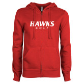 ENZA Ladies Red Fleece Full Zip Hoodie-Hawks Golf