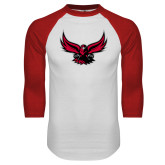 White/Red Raglan Baseball T Shirt-Hawk Logo