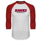 White/Red Raglan Baseball T Shirt-Hawks Baseball