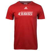 Adidas Climalite Red Ultimate Performance Tee-Secondary Logo