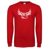 Red Long Sleeve T Shirt-Hawk Logo