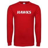 Red Long Sleeve T Shirt-Hawks