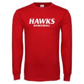 Red Long Sleeve T Shirt-Hawks Basketball
