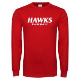 Red Long Sleeve T Shirt-Hawks Baseball
