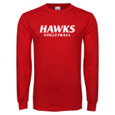 Red Long Sleeve T Shirt-Hawks Volleyball