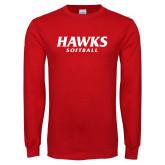 Red Long Sleeve T Shirt-Hawks Softball