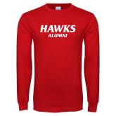 Red Long Sleeve T Shirt-Hawks Alumni