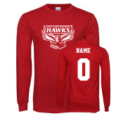 Red Long Sleeve T Shirt-Primary Mark, Personalized Name and #
