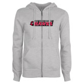 ENZA Ladies Grey Fleece Full Zip Hoodie-Secondary Logo