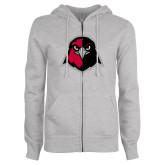 ENZA Ladies Grey Fleece Full Zip Hoodie-Hawk Head