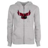 ENZA Ladies Grey Fleece Full Zip Hoodie-Hawk Logo