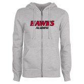 ENZA Ladies Grey Fleece Full Zip Hoodie-Hawks Alumni
