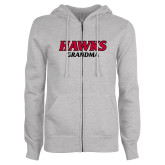 ENZA Ladies Grey Fleece Full Zip Hoodie-Hawks Grandma