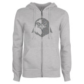 ENZA Ladies Grey Fleece Full Zip Hoodie-Hawk Head Glitter Silver Soft Glitter