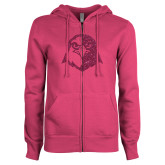 ENZA Ladies Fuchsia Fleece Full Zip Hoodie-Hawk Head Glitter Hot Pink Glitter