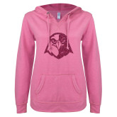 ENZA Ladies Hot Pink V Notch Raw Edge Fleece Hoodie-Hawk Head Glitter Hot Pink Glitter