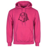 Fuchsia Fleece Hoodie-Hawk Head Glitter Hot Pink Glitter