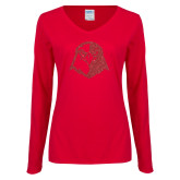 Ladies Red Long Sleeve V Neck Tee-Hawk Head Glitter Red Glitter