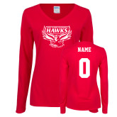 Ladies Red Long Sleeve V Neck Tee-Primary Mark, Personalized Name and #