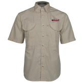 Khaki Short Sleeve Performance Fishing Shirt-Secondary Logo