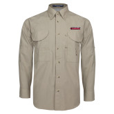 Khaki Long Sleeve Performance Fishing Shirt-Secondary Logo