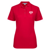 Ladies Easycare Red Pique Polo-Primary Mark
