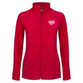Ladies Fleece Full Zip Red Jacket-Primary Mark