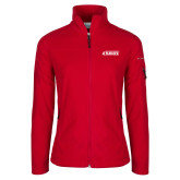 Columbia Ladies Full Zip Red Fleece Jacket-Secondary Logo
