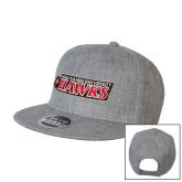 Heather Grey Wool Blend Flat Bill Snapback Hat-Secondary Logo