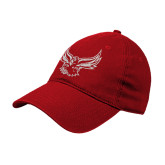 Red Twill Unstructured Low Profile Hat-Hawk Logo