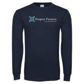 Navy Long Sleeve T Shirt-Hospice Partners - Tagline