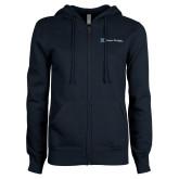ENZA Ladies Navy Fleece Full Zip Hoodie-Hospice Partners
