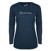 Ladies Syntrel Performance Navy Longsleeve Shirt-Hospice Partners of America