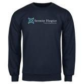 Navy Fleece Crew-Serenity Hospice - Tagline