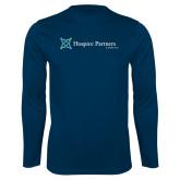 Performance Navy Longsleeve Shirt-Hospice Partners of America